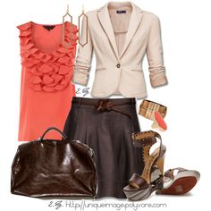 Coral & Brown, created by uniqueimage on Polyvore