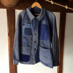 """""""""""SASAKI-JIRUSHI"""" French vintage patched work jacket From:France,1950's…"""