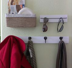 diy sunglasses storage Basket for trinkets so i don't lose my damn keys and wallet and bus pass And coat rack