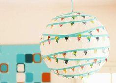 Lampada carta di riso con decorazioni washi tape