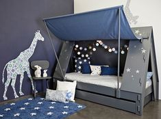 Cabin bed tent Mathy by bols Kids Canopy, Kids Tents, Toddler Bed Tent, Cool Toddler Beds, Kids Bed Tent, Unique Kids Beds, Bunk Bed With Desk, Kids Bedroom Furniture, House Beds