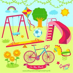 Playground Digital Vector Clip art / Play Time Clipart Design Illustration / Swing, Bicycle, Kite, Slides, Soccer, See Saw, Park, Outdoor/ by CreamyInk on Etsy https://www.etsy.com/uk/listing/249343957/playground-digital-vector-clip-art-play