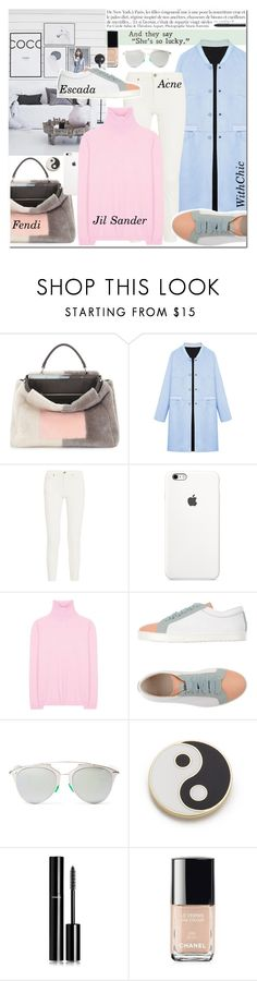 """""""PRETTY PASTEL"""" by anny-dd ❤ liked on Polyvore featuring Fendi, WithChic, Acne Studios, Jil Sander, Escada Sport, Christian Dior, Georgia Perry, Anja, Chanel and women's clothing"""
