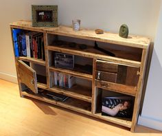 Rustic bookcase from reclaimed timber.