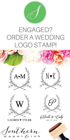 A Custom Wedding Logo is the perfect way to personalize your Wedding items. You can use your custom stamp as the finishing touch to stationery, invitations, envelopes, favors and so much more! Shop Southern paper and Ink to choose your wedding logo style.