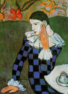 Harlequin leaning - Pablo Picasso #art #Picasso #painting