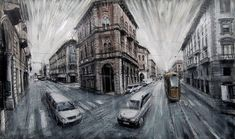 Cattedrale di Milano (2014). Oil on canvas It's hard not to get lost in these dramatically blurred architectural renderings and cityscapes of New York and Italy by Italian painter Valerio D'Ospina…