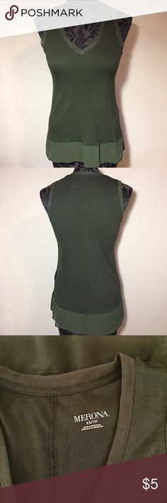 Merona Olive Green Tank Top w/ Mesh Detailing XS Mesh detaining on neckline and arm holes. Sheer fabric on bottom. Soft fabric. Some wear. Great casual top. Merona Tops Tank Tops