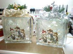 Lighted snowman glass block crafts