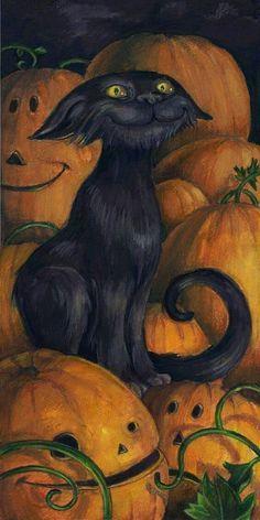 Pumpkincat - by annpars (deviantart) - Halloween, black cat, pile of pumpkins Retro Halloween, Chat Halloween, Halloween Images, Halloween Cards, Holidays Halloween, Spooky Halloween, Halloween Pumpkins, Halloween Decorations, Halloween Painting
