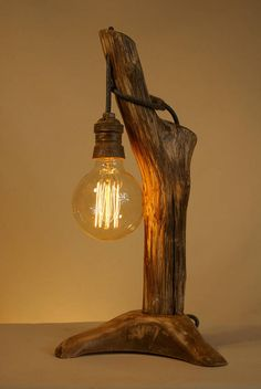 Rustic Lamps, Wood Lamps, Rustic Lighting, Decor Interior Design, Interior Decorating, Rope Lamp, Driftwood Lamp, Wood Creations, Easy Woodworking Projects