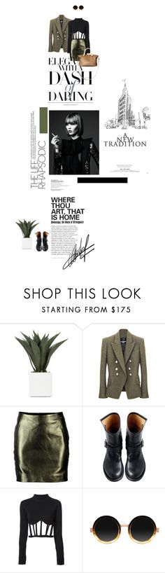 """Something Different"" by novadebi ❤ liked on Polyvore featuring beauty, Balmain, VIPARO, Fiorentini + Baker, Jean-Paul Gaultier, Moscot and Hedi Slimane"