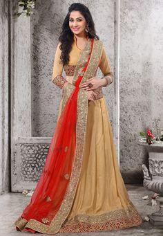 Beige Faux Georgette Shimmer Lehenga Choli with Dupatta Online Shopping: LWK1498