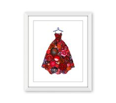 Red Ball Gown Fashion Print - Girls Room Decor - Fancy Dress Glamour Print - Fashion Wall Art - Gifts for Her - Free Domestic Shipping