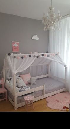 Grey and pink toddler room, sweet & simple - Nursery & Kid Decor - Kinderzimmer Baby Bedroom, Girls Bedroom, Bedroom Decor, Kids Bedroom Ideas For Girls Toddler, Girl Nursery, Girl Kids Room, Beds For Girls, Childrens Bedroom Ideas, Kid Bedrooms