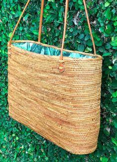 dfb4d00eec beautiful bohemian woven tote bag  rattan tote bag from Bali