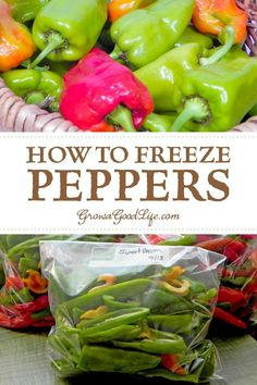 How to freeze peppers: Peppers are one of the few vegetables that can be frozen without having to blanch first. Surprisingly, frozen peppers do not turn to mush when thawed either, but maintain the flavor of fresh peppers. Freezing Vegetables, Canning Vegetables, Frozen Vegetables, Fruits And Veggies, Freezing Fruit, Frozen Vegetable Recipes, Freezing Strawberries, Instant Pot, Canning Food Preservation