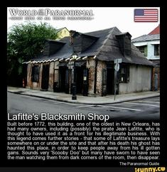 Lafitte's Blacksmith Shop - French Quarter, New Orleans, Louisiana / Lafitte's ghost? strange happenings around the fireplace. Scary Creepy Stories, Spooky Stories, Creepy Facts, Creepy Stuff, Ghost Stories, Freaky Things, Most Haunted, Haunted Places, Real Haunted Houses