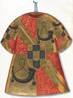 Cotte de héraut de Louis de Chalon (f°100r) -- Le livre de drapeaux de Fribourg (Fahnenbuch/Book of Flags) de Pierre Crolot, 1648, Fribourg.