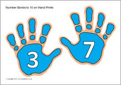 Number bonds to 10 on hand prints (SB9497) - SparkleBox