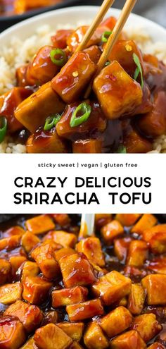 Sriracha Tofu: Perfectly sticky sweet and spicy! The tofu is baked to crispy perfection with my easy method.Sticky Sriracha Tofu: Perfectly sticky sweet and spicy! The tofu is baked to crispy perfection with my easy method. Spicy Tofu Recipes, Firm Tofu Recipes, Vegan Dinner Recipes, Cooking Recipes, Healthy Recipes, Chinese Tofu Recipes, Vegetarian Asian Recipes, Sriracha Recipes, Vegan Foods
