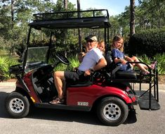 When you add a golf cart rear seat, upgrade your top to an extended golf cart roof so your rear seat passengers are protected from the sun and/or rain. Golf Cart Parts, Golf Carts, Golf Cart Bodies, Golf Cart Covers, Electric Golf Cart, Golf Cart Accessories, Golf Pride Grips, Public Golf Courses, Golf Channel