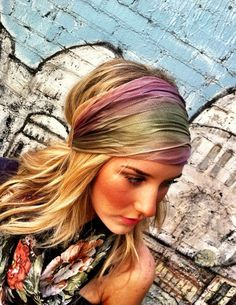 Stretch Headband  Green MultiColor Mesh Women's by ThreeBirdNest, $16.50