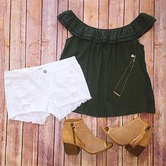✺ OOTD ✺ Pair our new ruffle olive off-the-shoulder top with a pair of white jean shorts and top it off with these adorable booties! #fedoraboutique #shopfedora #shoplocal