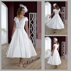 This fun, fabulous & flirty Fifties-inspired dress is created in a luxurious satin, and has short sleeves that cup the shoulders - drawing attention to a pretty neck. . Choose it as a tea-length dress as shown here and wear it with 50's style birdcage veil, or as a full length gown for a more traditional look.