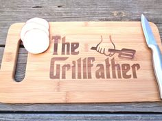 THE GRILL FATHER Engraved Cutting Board 14 by CreativeButterflyXOX