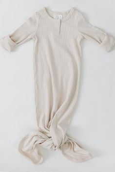 Mebie Baby Ribbed Knot Gown, Vanilla We are happy to add the darling Mebie Baby Ribbed Knot Gowns t Organic Baby, Organic Cotton, One Piece Gown, Baby Coming Home Outfit, Baby Gown, Baby Boy Gowns, Gender Neutral Baby, Spandex, Cute Baby Clothes
