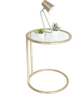 Bijzettafel glass - staal/goud - Leitmotiv