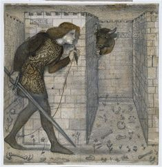Theseus and the Minotaur in the Labyrinth, tile design from 1861, Edward Burne-Jones. (Birmingham Museums and Art Gallery/preraphaelites.org)