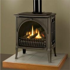 Hmmmm. Gas would burn so much cleaner than wood. I wonder which is more economical, wood or propane?Madrona Freestanding Gas Fireplace from Miles Industries