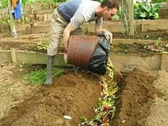 Here's a good way to compost & enrich poor garden soil when you have space in your garden & don't yet have a compost bin.  Dig your trench, fill it with kitchen & garden scraps & dried leaves/twigs/small branches/wood mulch. Water in well, cover over with the dug out soil, and leave for some months, before planting into your new, nutrient rich garden plot!