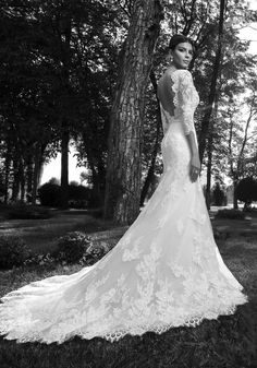 ROSE, elegant mermaid wedding dress with a stunning open back, long train, lots of lace embroidery and delicate sleeves