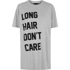 TOPSHOP Long Hair Don't Care Pajama T-Shirt ($38) ❤ liked on Polyvore featuring intimates, sleepwear, pajamas, shirts, grey e topshop