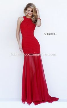Red 2015 Sherri Hill 32331 Slim Bandage Homecoming Evening Dress