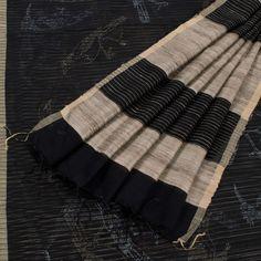 Khoj Hand Printed Russian Black Maheshwari Silk Sari with Matka Pallu 10002444 - AVISHYA