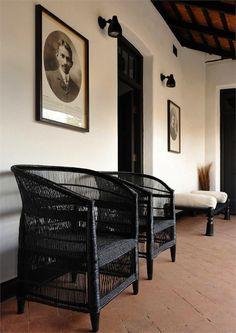 black wicker, interesting bench