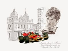 Jochen Rindt - crowned World Champion posthumously in 1970 Monaco, Caricatures, F1 Lotus, Jochen Rindt, Vintage Race Car, Guy Drawing, Car Drawings, Automotive Art, Indy Cars