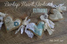 Burlap & Lace Heart Garland Tutorial...JediCraftGirl
