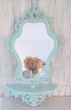 Shabby Chic Mirror For Sale FRENCH COUNTRY .....I have a set almost identical my neighbor gave me. Its gold but about to be this color
