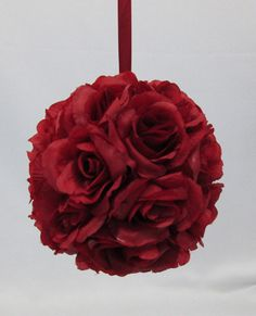 Burgundy Silk Rose Pomander...READY TO SHIP by MyKreations4U, $9.99