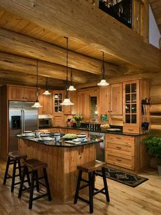 Take a look at these stunning log home kitchens. It is said that the kitchen is the heart of the home, and we here at Pioneer Log Homes of BC believe it. Log Cabin Living, Log Cabin Homes, Barn Homes, Log Cabin Kitchens, Rustic Kitchens, Rustic Kitchen Cabinets, Kitchen Wood, Kitchen Dining, Kitchen Decor