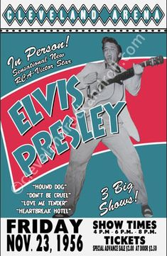 Elvis Presley performed at the old Cleveland Arena on November 23, 1956. This was one of the first solo concerts Elvis had in the Cleveland area. He did 3 shows that day.    Cleveland Arena was an arena in downtown Cleveland. It was built and privately financed by local businessman Albert C. Sutphin during the height of the Great Depression in 1937 as a playing site for Sutphins AHL team, the Cleveland Barons. The arena was located at 3717 Euclid Avenue, and seated 9,900 in the stands and…