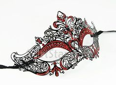 PAOLA Laser Cut Venetian Mask Masquerade Costume Black Red Burlesque Queen Hearts Ball | eBay