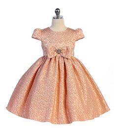 Love this Peach Bow A-Line Dress - Infant, Toddler & Girls on #zulily! #zulilyfinds