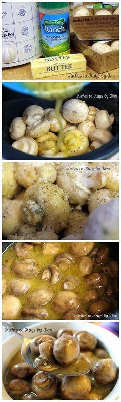 Crockpot Parmesan Ranch Mushrooms   Excellent appetizer for potlucks or steak topper...hint: cook on HIGH for 6 hours! (linked to correct website w/ recipe)