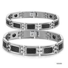 2015 nueva moda piedra magnética de la energía par brazalete de acero inoxidable 316L de la joyería de titanio mayorista regalo del envío gratis(China (Mainland))